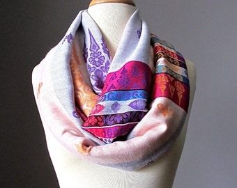 Winter scarf, white scarf, pink scarf, warm scarf, chunky scarf, Christmas gift