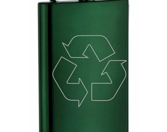 Custom engraved Stainless Steel Recycle Sign Flask