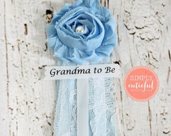 Blue Lace Baby Shower Corsage Corsage for Boy with Mommy to Be Grandma to Be Aunt to Be and Custom Pins Badge Brooch