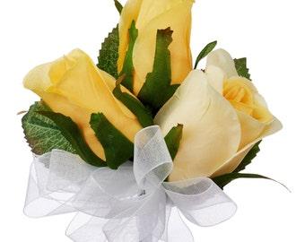Yellow Silk Rose Corsage - Wedding Corsage Prom