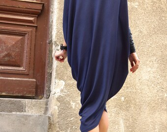 Sexy Summer Indigo Loose Kaftan / Asymmetric Sleeveless Tunic  Top / Maxi Blouse Ribbed Soft Viscose A02138