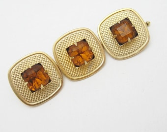 Vintage Rhinestone Button Studs Large Set of 3 H718