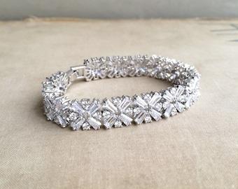 Tennis bracelet,SALE,Art Deco bracelet, Cubic zirconia bridal bracelet,white gold,art deco jewelry,art deco bridal bracelet, crystal Xs