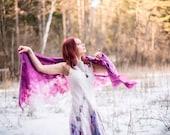 Wedding shawl Purple felted scarf Purple silk scarf Ombre silk scarf Magenta purple wool scarf Silk shawl Boho shawl Bohemian scarf