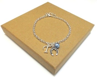 Bridal Horseshoe Bracelet, Good Luck Bracelet, Gift for Bride, Lucky Horseshoe Bracelet, Horseshoe Jewellery, Personalised Initial Bracelet