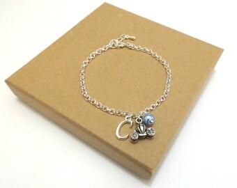 Pumpkin Carriage Bracelet, Princess Charm Bracelet, Cinderella Inspired, Cinderella Bracelet, Cinderella Jewellery, Personalised Bracelet