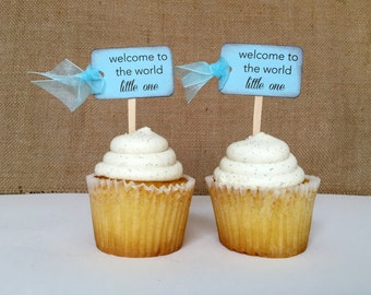 Baby Boy... Vintage Baby Shower (welcome to the world) Cupcake Toppers.