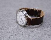 Leather Watch Band Horween Coffee Bean Polished Hardware