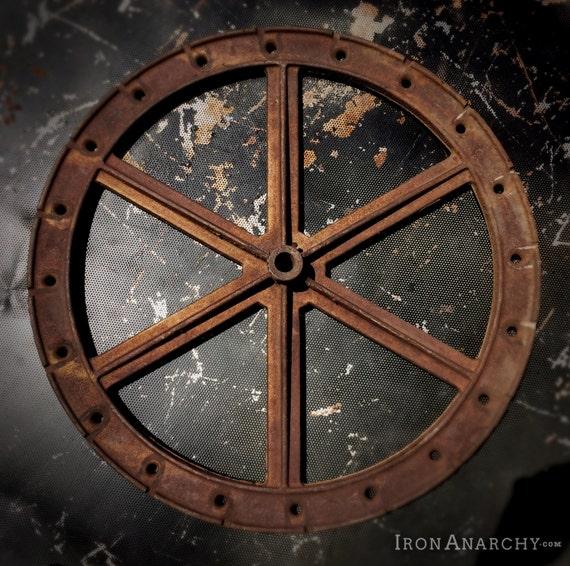 Antique Cast Iron Flywheels : Large antique industrial wheel vintage cast iron flywheel