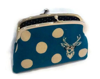 Echino coin purse, etsuko double frame wallet with geek stag in blue polka dots and black