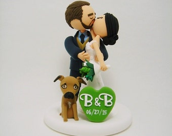 Kissing couple with dog Custom wedding cake topper