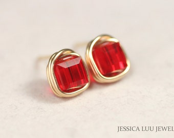 Gold Stud Earrings Red Swarovski Crystal Earrings Wire Wrapped Jewelry Gold Necklace and Earrings Set Swarovski Crystal Jewelry
