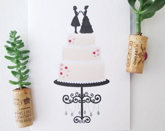Wedding Cake Topper - 2 Brides - Marriage Equality