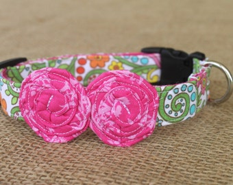 Dog Collar - Multicolored Floral with Bright Pink Flowers