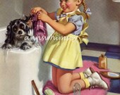 "Dog Art ""Getting Things Cleaned Up"" 1940s Restored Antique Art - Restored Vintage Art - Dog Gets a Bathtub Bath #111"