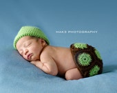 Crochet Turtle Tushy Topper and Hat Set Photography Prop - Size Newborn (PATTERN ONLY)