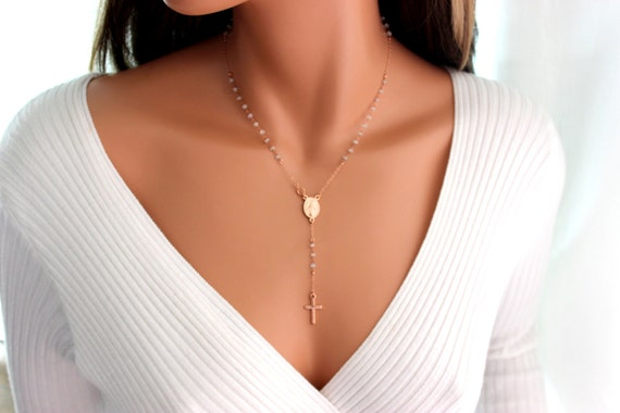 Rose Gold Filled Rosary Necklace Rainbow Moonstone Women