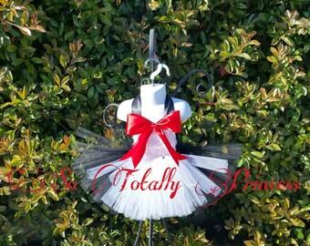 Cat tutu dress/Birthday tutu dress/Halloween costume/Black and white tutu dress/Big red bow/Photo prop
