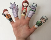 Little Red Riding Hood Paper Finger Puppets By Curmilla, Printable PDF, Capuercita, Cappuccetto Rosso