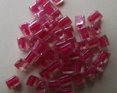 Hot Pink Lined Crystal Glass Miyuki Cube Beads (50) 4mm - Beautiful and Colorful Beads