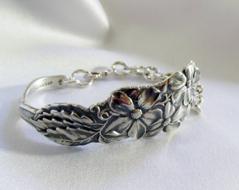 Violet Bracelet Sterling Silver Spoon Bracelet by Treasure Grotto Nature Jewelry Symbolic of Faithful Love Anniversary Present Idea