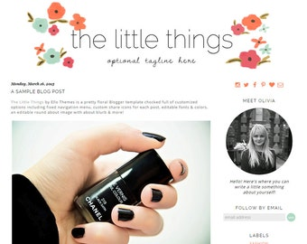 Premade Blogger Template - The Little Things Responsive Blogger - Instant Download