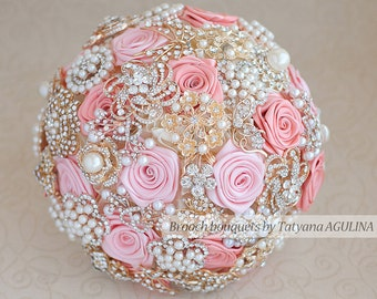 Brooch bouquet. Coral, Pink and Ivory wedding brooch bouquet, Jeweled Bouquet.