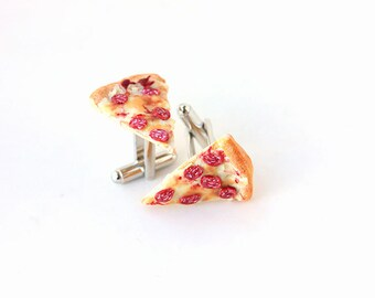 Pizza Slice Cufflinks - Cuff Links- Polymer food Jewelry