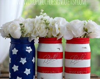 Red, White, Blue Flag Mason Jars - Wide Mouth Quarts - Fourth of July, Memorial Day, Labor Day