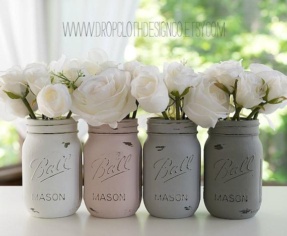 Painted Distressed Mason Jars - Pink Blush, Grey, Greige, White - Wedding Centerpiece, Bridal Showers, Home Decor
