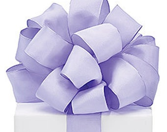 Wired pastel Lavender taffeta ribbon. -   FaNcY Wired Ribbon , Wedding, aby Shower. Its a Girl ,Wreaths Gifts - Hairbows - Giftwrap - Bows