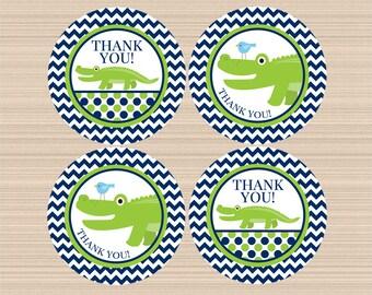 Digital Thank You Tags, Alligator Baby Shower, Birthday