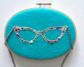 CAT's EYES 60's SPECTACLES - pdf Floral Embroidery Pattern for Instant Download