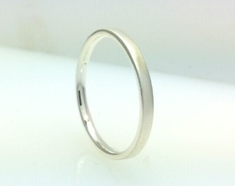 Sterling Silver Flat Court Wedding Band Ring Matte 2mm Comfort Fit All Us Sizes