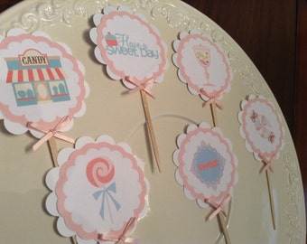 Candy Sweet Shoppe Cupcake Toppers