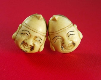 Vintage Fu Manchu cuff links Japanese Emperor ANSON carved  Asian cufflinks figural whimiscal estate oriental asian jewelry