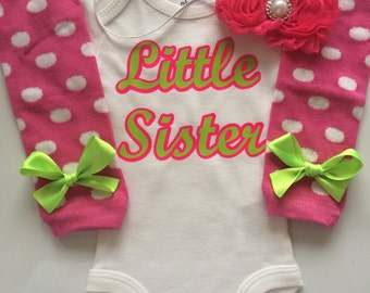 NEWBORN PREEMIE 3 MONTH Baby Girl outfit -Coming home outfit - Newborn clothes - little sister onesie - hospital outfit - Little Sister-
