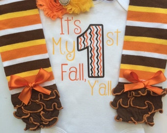 BABY girl Thanksgiving outfit- Baby Girl Fall Outfit  - thanksgiving legwarmers- It's my 1st Fall Y'all - first fall outfit