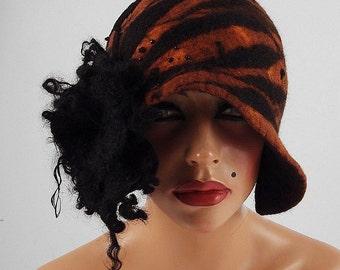 Felted Hat Tiger Hat Cloche Hat Designer Hat Art Hat wild Retro hats Felt wearable art Nunofelt Nuno felt la belle epoque Eco art deco
