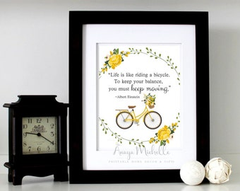 Albert Einstein Quote - Life is like riding a bicycle .. Printable Art / Famous Quote Print / Albert Einstein Wall Art Printable