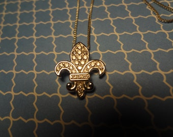 Silver Necklace Fleur De Lis French Bourbon Street New Orleans Silver Diamond Like Rhinestones 925 Sterling Box Chain 18 Inch Gift Birthday