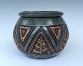 Lidded Hand Carved Bowl - Aztec, Triangle, Leaf - Textured & Rustic - Sage Green, Brown, Tan - Original Unique