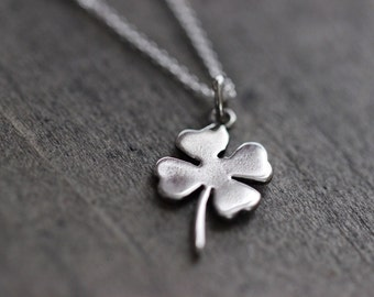 Four Leaf Clover Necklace, Shamrock Sterling Silver Necklace, Lucky Charm Necklace, St Patricks Day Necklace, 16""