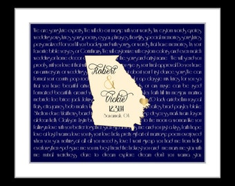Custom wedding gift unique anniversary gift him her savannah georgia map 1st love song lyrics art wall art print valentines day gift georgia