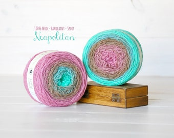 2 Hand Dyed Yarn Balls - 100% Wool - Color: Neapolitan Ombre - 1Ply Sport Yarn - Colorful Soft Yarns by Freia - 2 Balls - Rose gradient Yarn