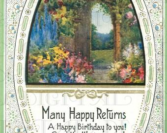 Happy Returns Of The Day! Fancy Gorgeous Garden Vintage Illustration BIRTHDAY Card  DIGITAL Download. Victorian Digital Birthday Card.