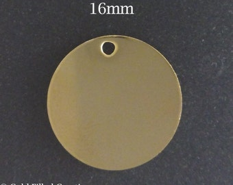 10pcs Gold Filled Stamping Blanks Round Disc 16mm 24ga - gold disc stamping blank - disc stamping blanks yellow gold