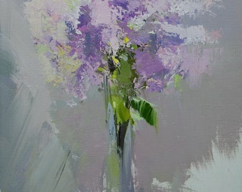 Original still life painting, lilac flowers bouquet, Lilac white wall art, floral oil painting on canvas art lilacs in vase