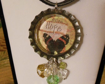 Handmade, Butterfly and Hope, Bottle Cap Necklace and Pendant