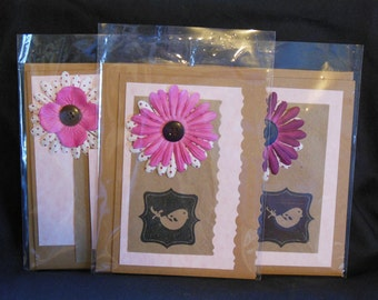 3 Pack Bird Card Set, blank note cards